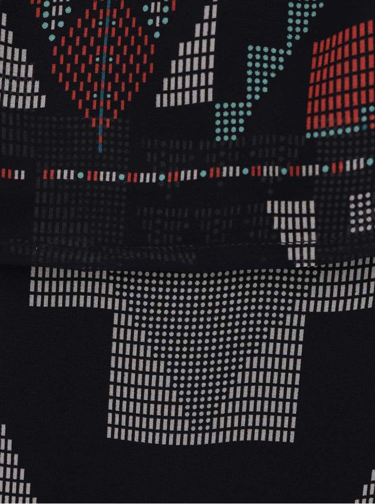 Černá vzorovaná halenka s odhalenými rameny Alchymi Gaura
