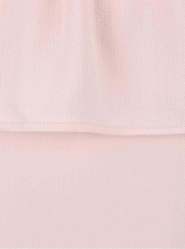 Světle růžová halenka s volánem a odhalenými rameny Alchymi Lapis