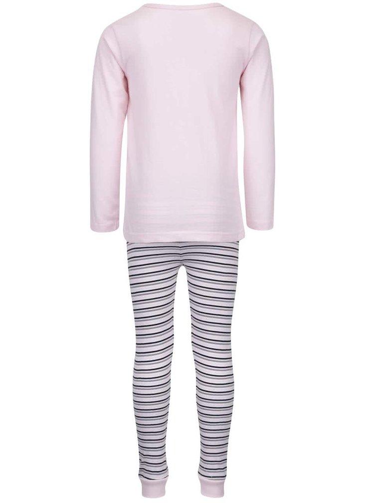 Růžové pruhované holčičí pyžamo name it Ballerina