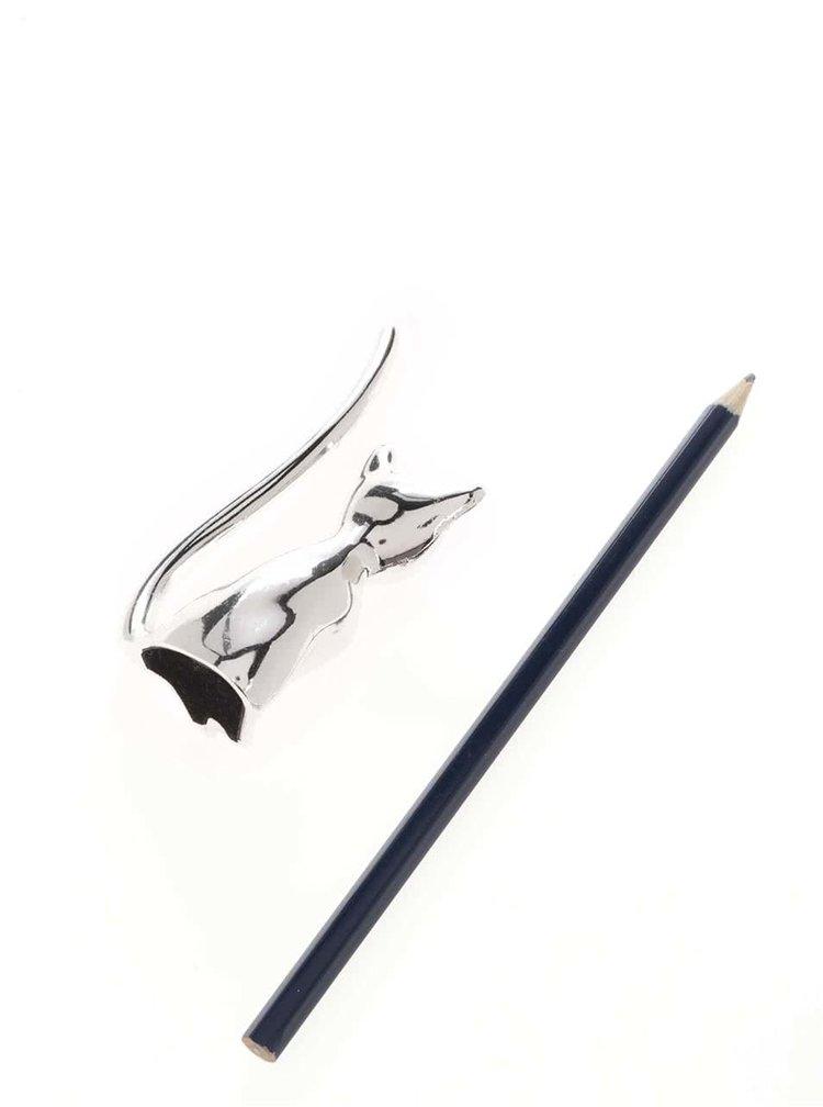 Držák na prstýnky ve stříbrné barvě ve tvaru kočky CGB