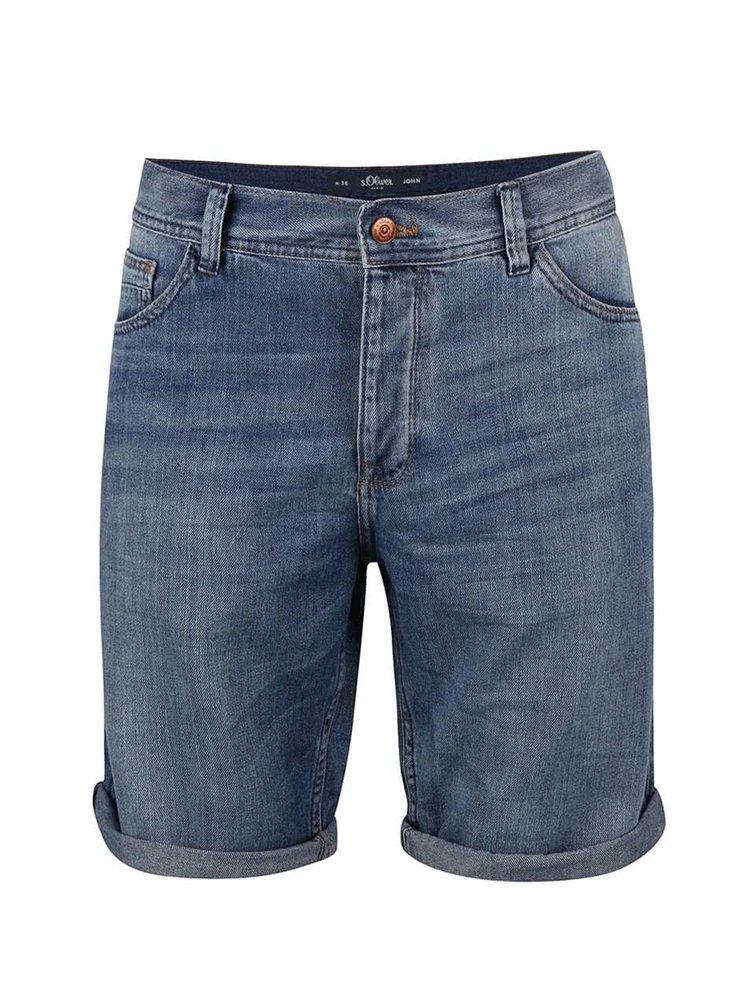 Světle modré pánské džínové kraťasy s.Oliver