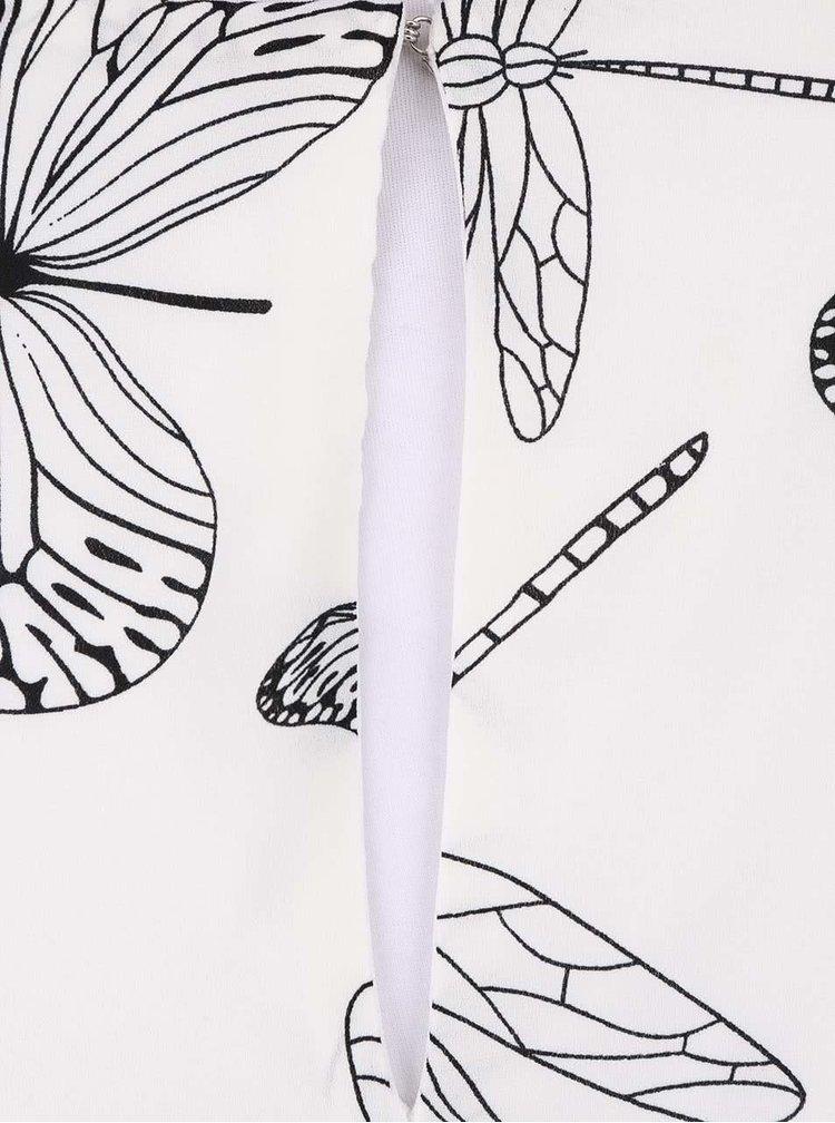 Krémové šaty s čiernou potlačou motýľov Smashed Lemon