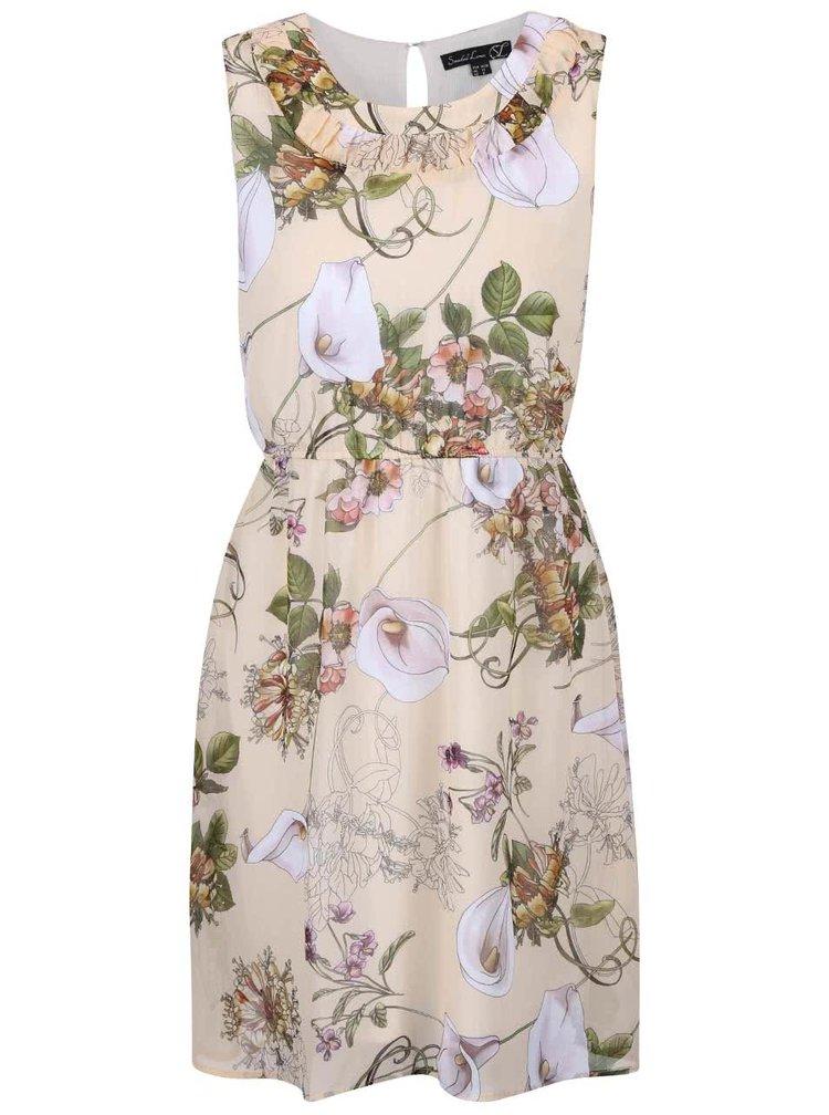 Béžové květované šaty stažené v pase Smashed Lemon