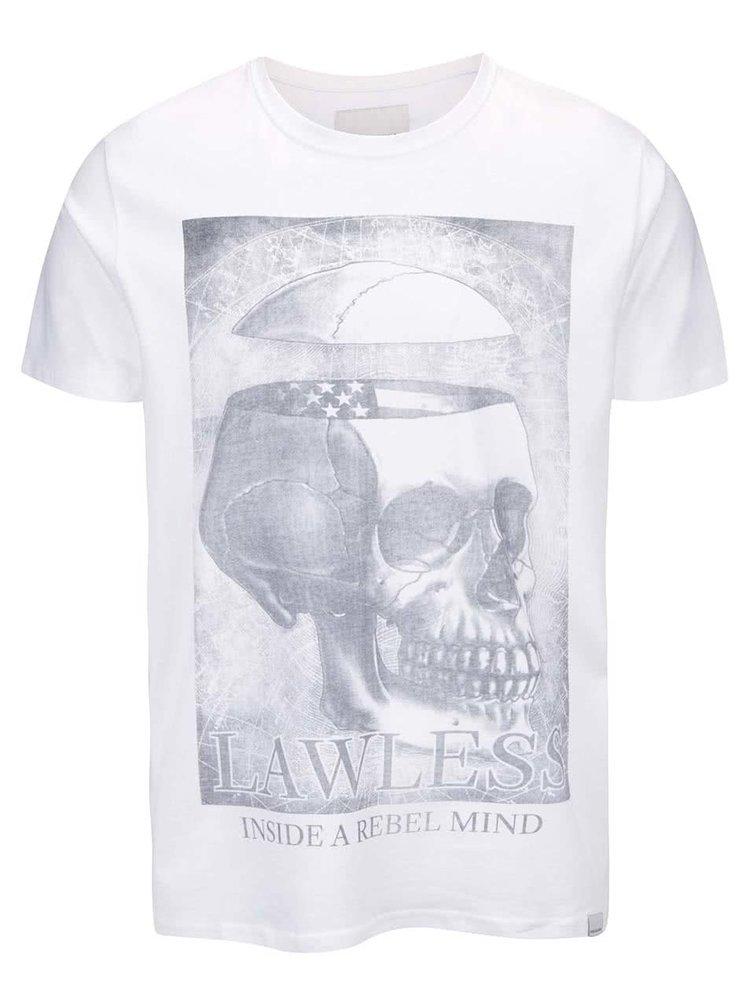Bílé tričko s lebkou Shine Original