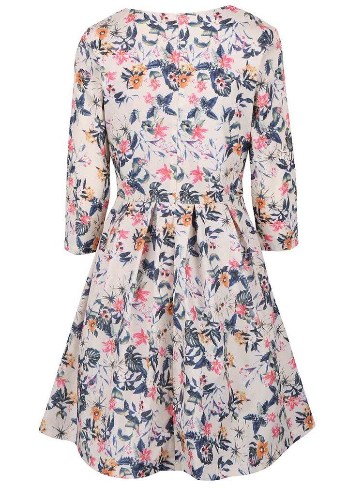 Krémové květované šaty s 3/4 rukávem Smashed Lemon