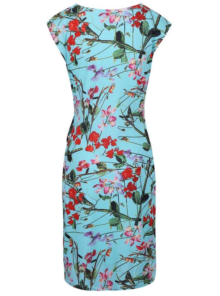 Tyrkysové šaty s potiskem květin Smashed Lemon