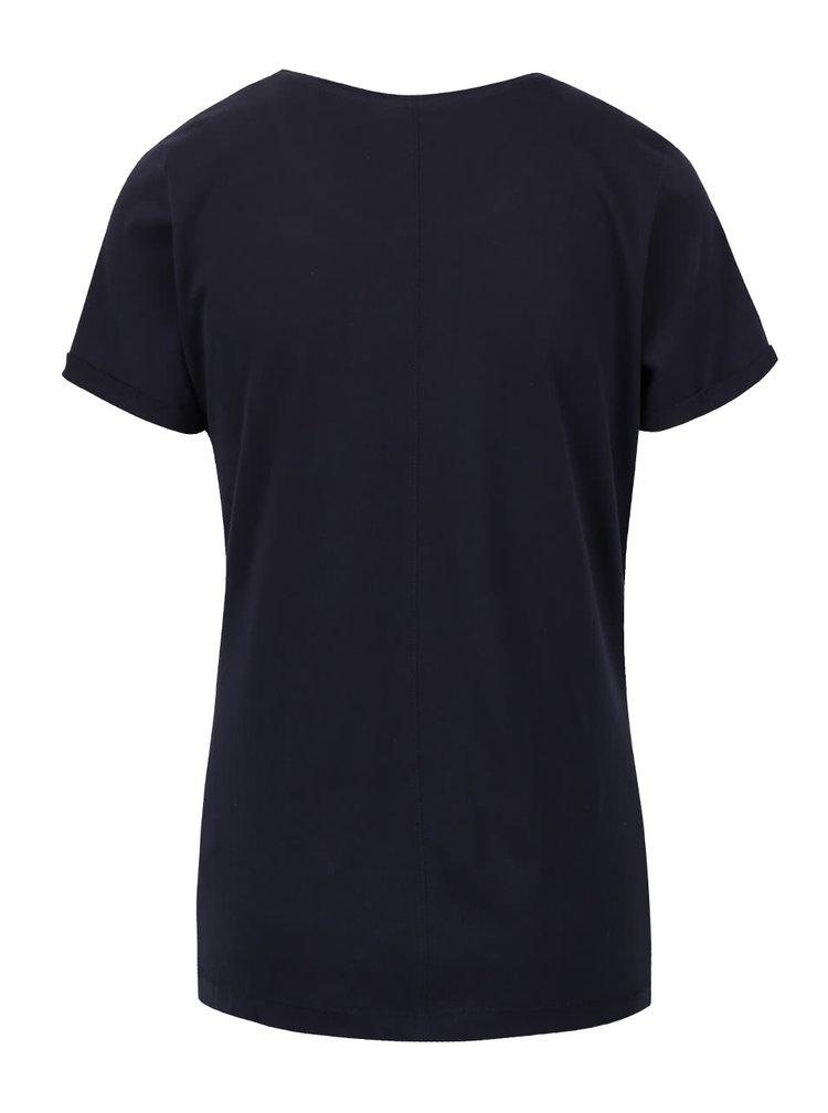 Tmavě modré dámské tričko s nápisem s.Oliver