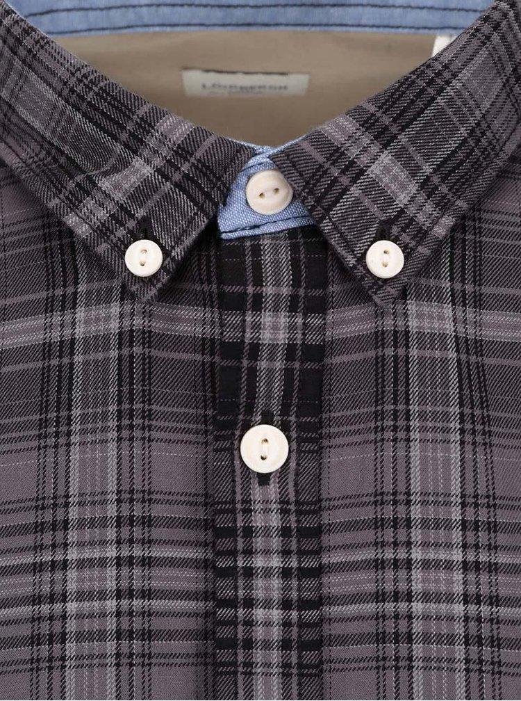 Šedo-hnědá Pánská kostkovaná košile Lindbergh