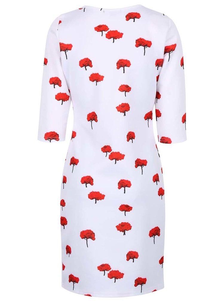 Bílé šaty s rukávy a potiskem červených květin Smashed Lemon