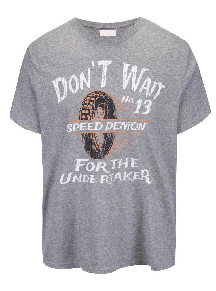 Sivé tričko s potlačou Shine Original Don't wait