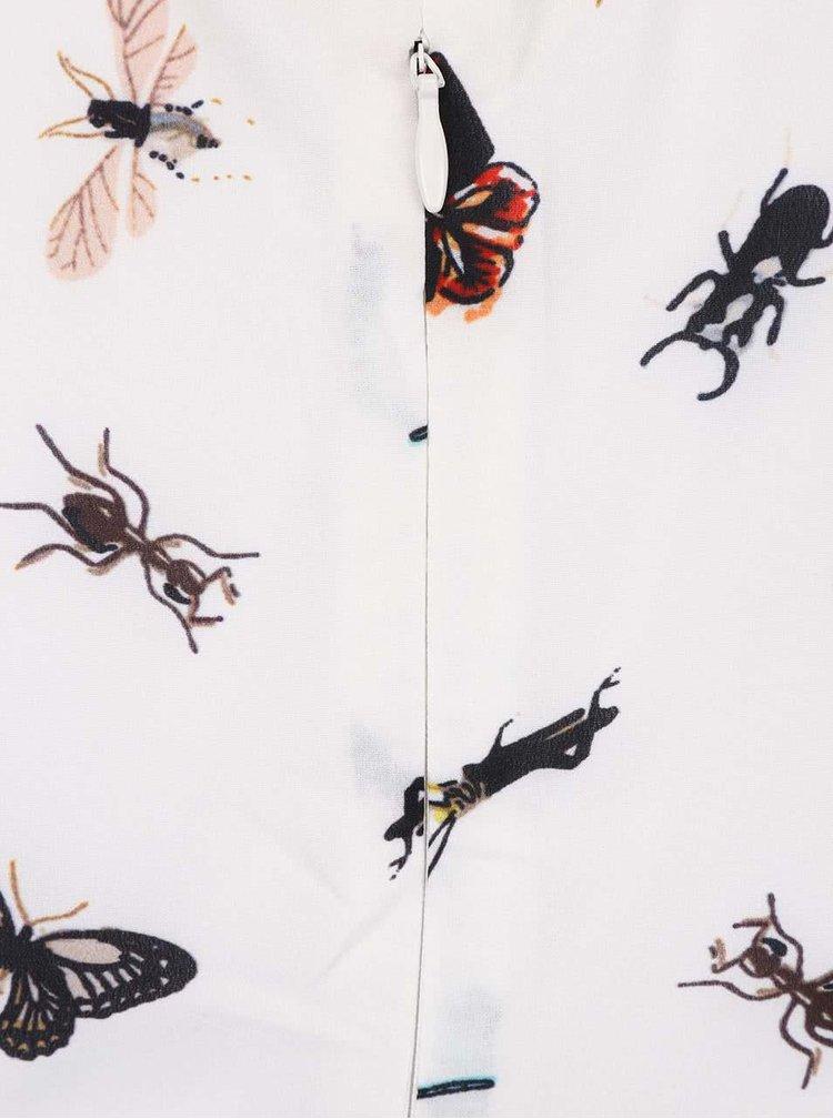 Krémové šaty s golierom a potlačou hmyzu Smashed Lemon