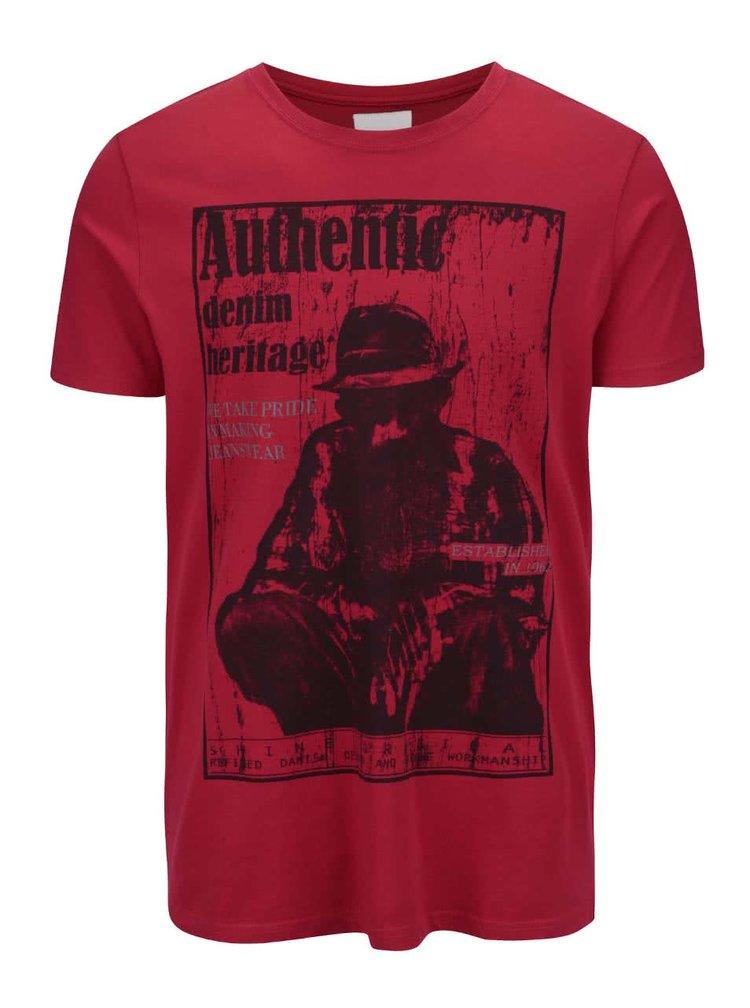 Červené tričko s potlačou Shine Original Authentic