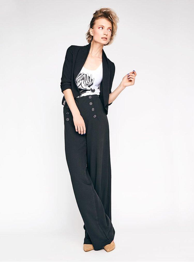 Černé dámské volné kalhoty s knoflíky Alchymi Orion