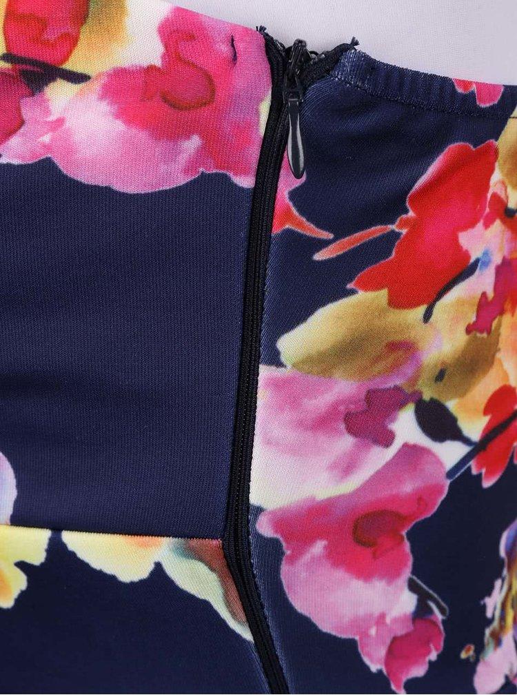 Tmavomodré šaty s kvetmi AX Paris