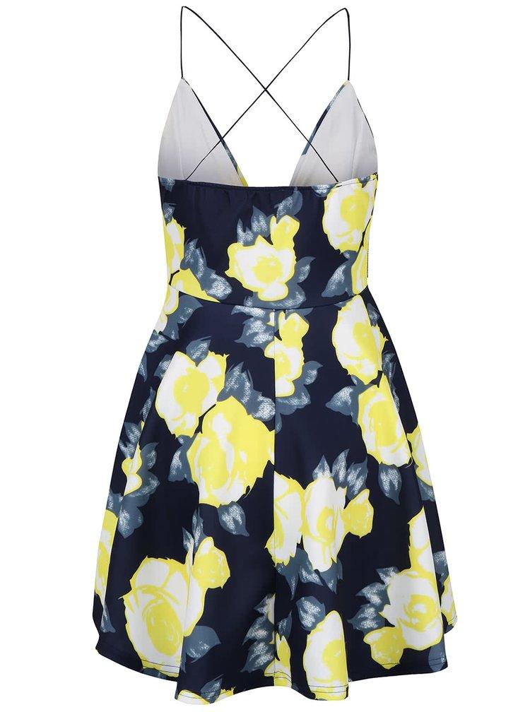 Tmavě modré kratší šaty se žlutými květy AX Paris