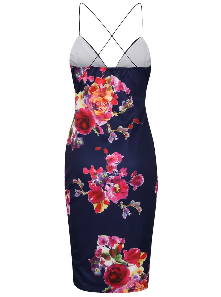 Rochie cu imprimeu floral AX Paris albastru închis