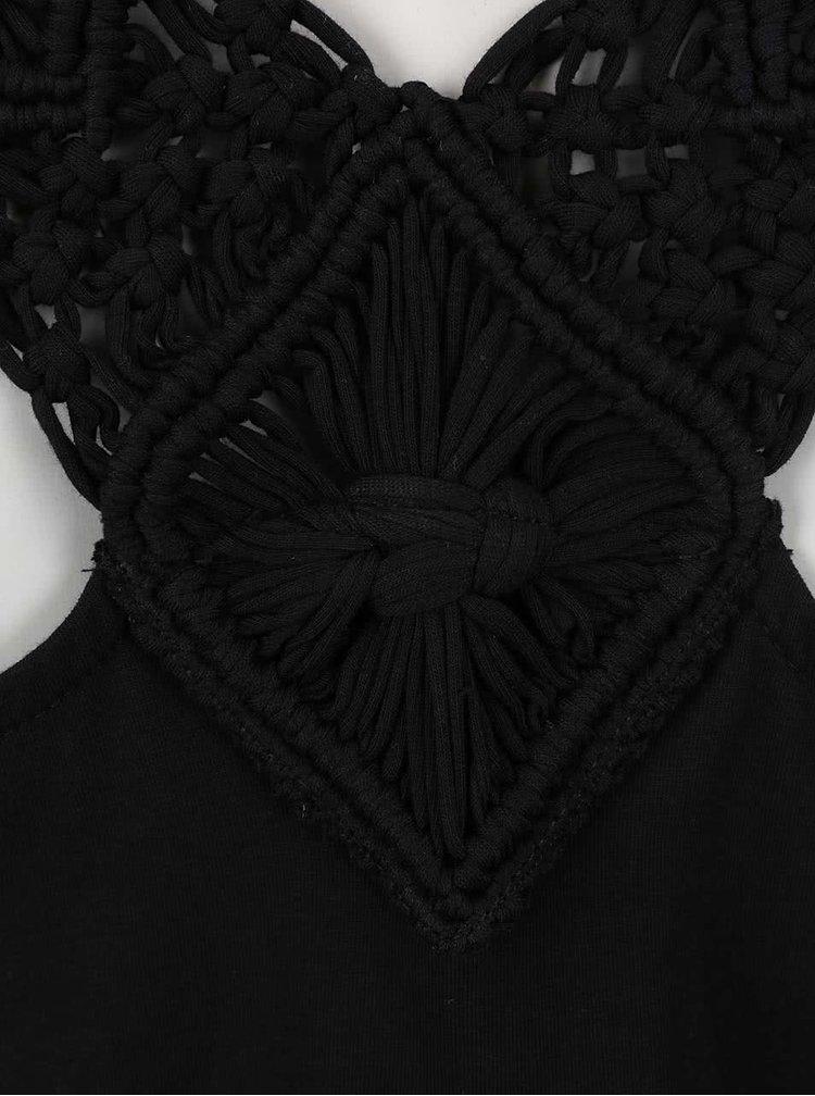 Černý overal s krajkovými ramínky Dorothy Perkins