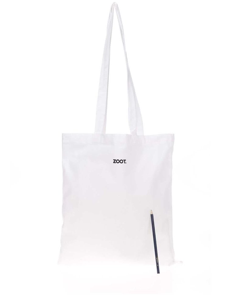 Biela plátenná taška s potlačou nanuku Míša