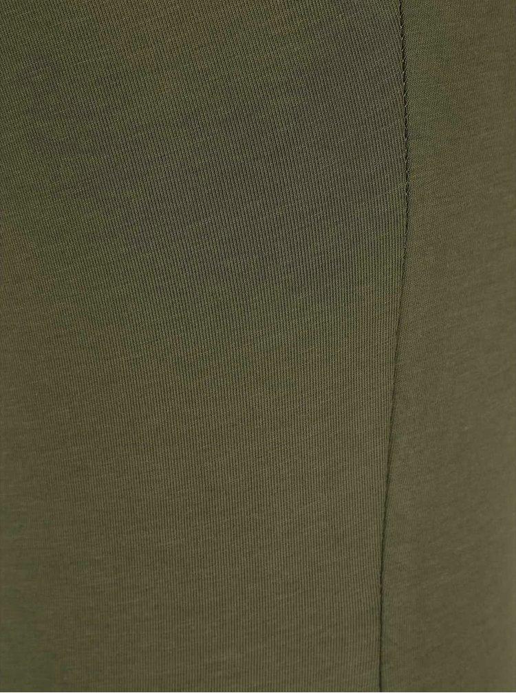 Kaki tričko s čipkovaným výstrihom VERO MODA Inge