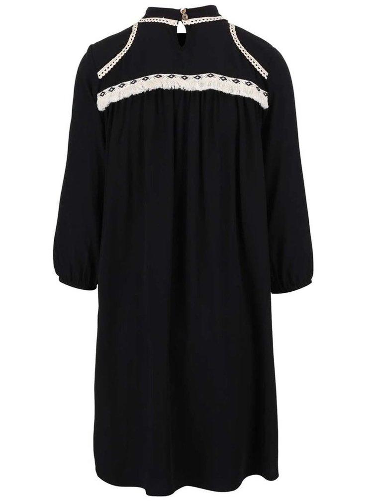 Černé šaty s krémovými detaily Alchymi Morion