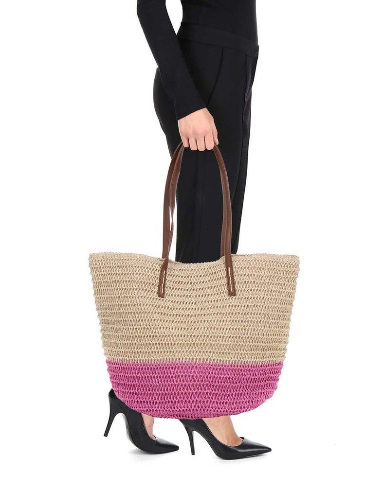 Béžovo-růžová slaměná taška Dorothy Perkins