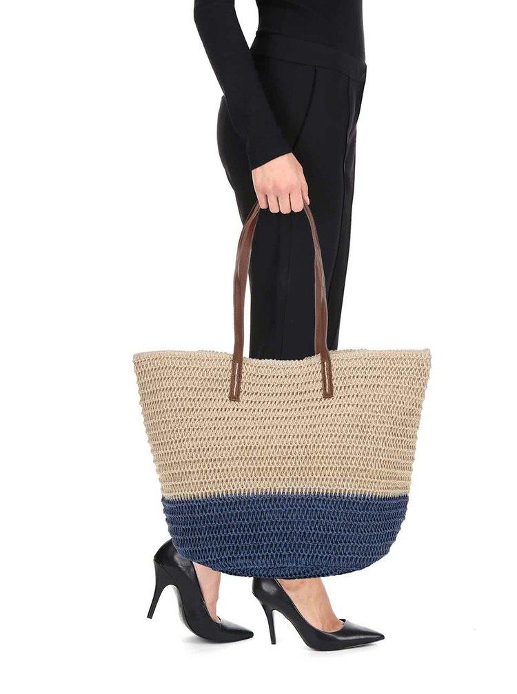Béžovo-modrá slaměná taška Dorothy Perkins
