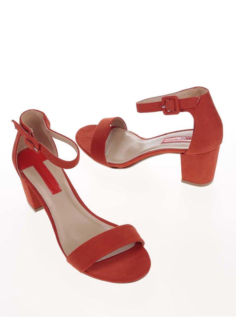 Oranžové sandálky na podpatku Dorothy Perkins