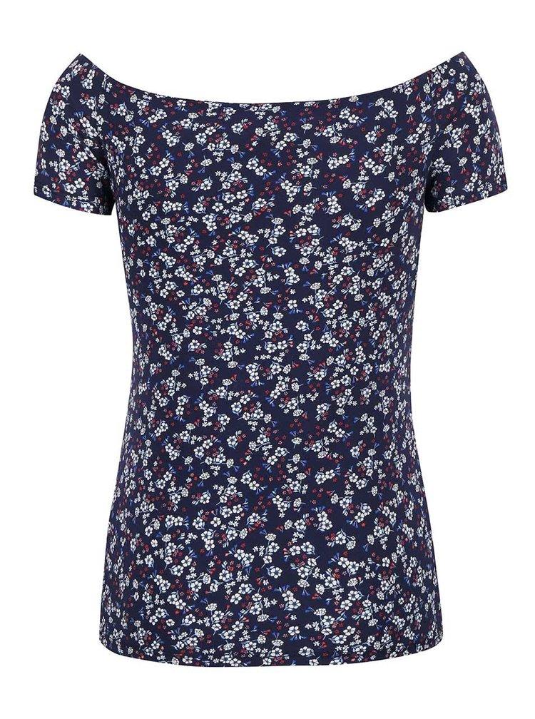 Tmavě modré květované tričko s lodičkovým výstřihem Dorothy Perkins