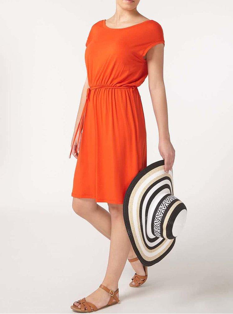 Oranžové šaty se šňůrkou v pase Dorothy Perkins Petite