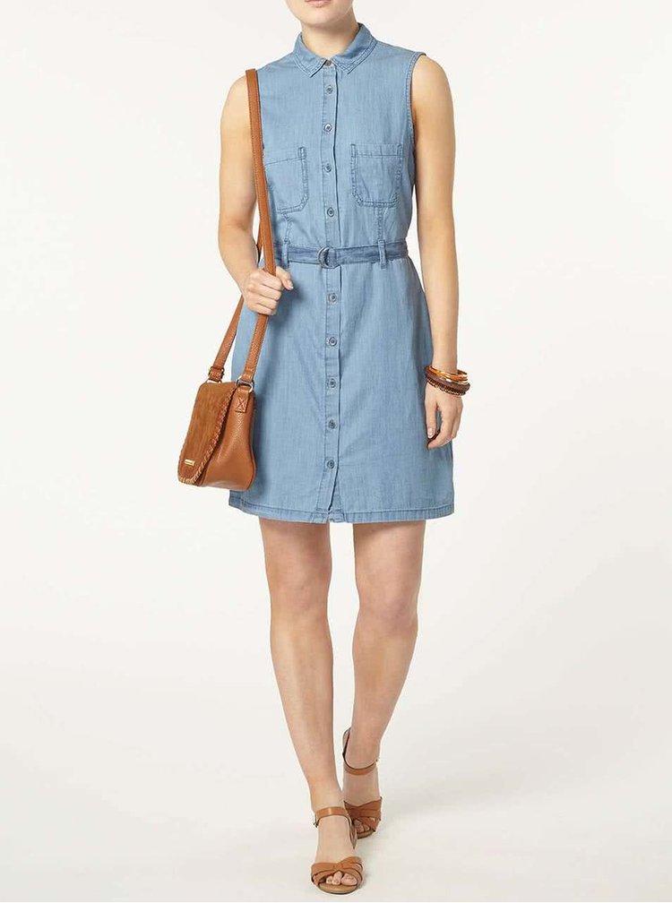 Modré rifľové šaty s opaskom Dorothy Perkins