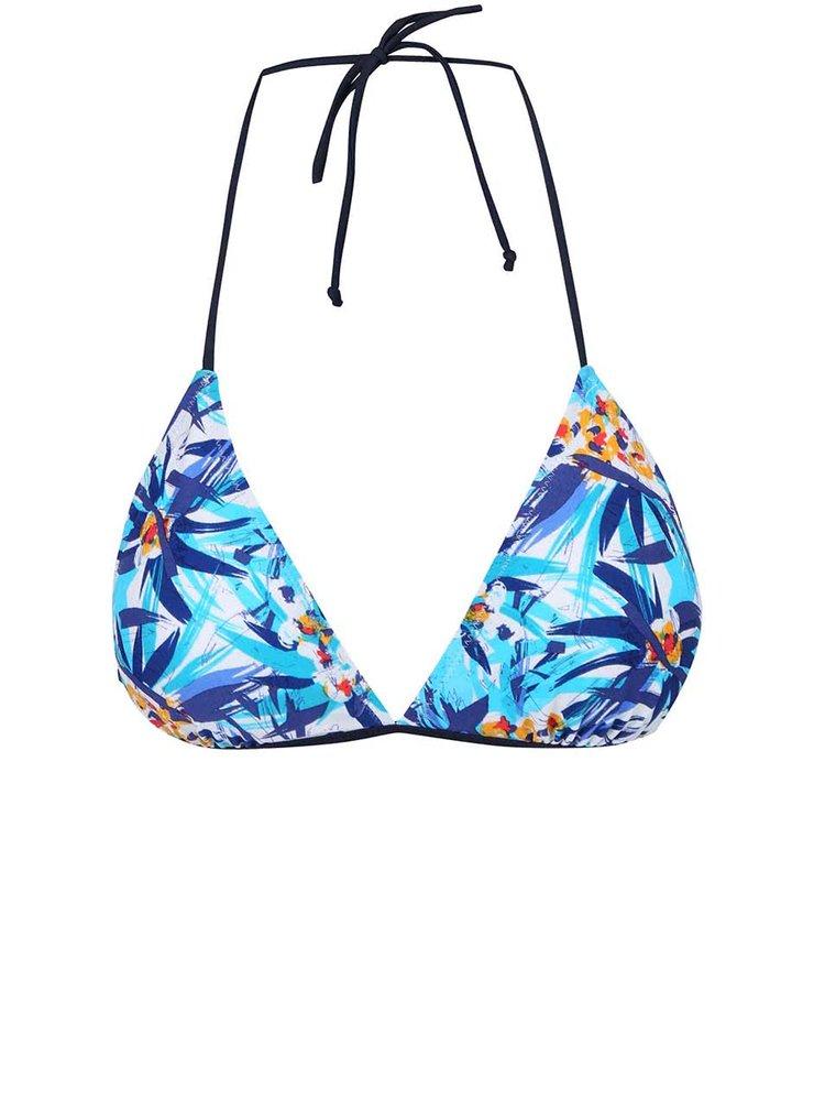 Modrý vrchný diel plaviek so vzorom VERO MODA Palm flower