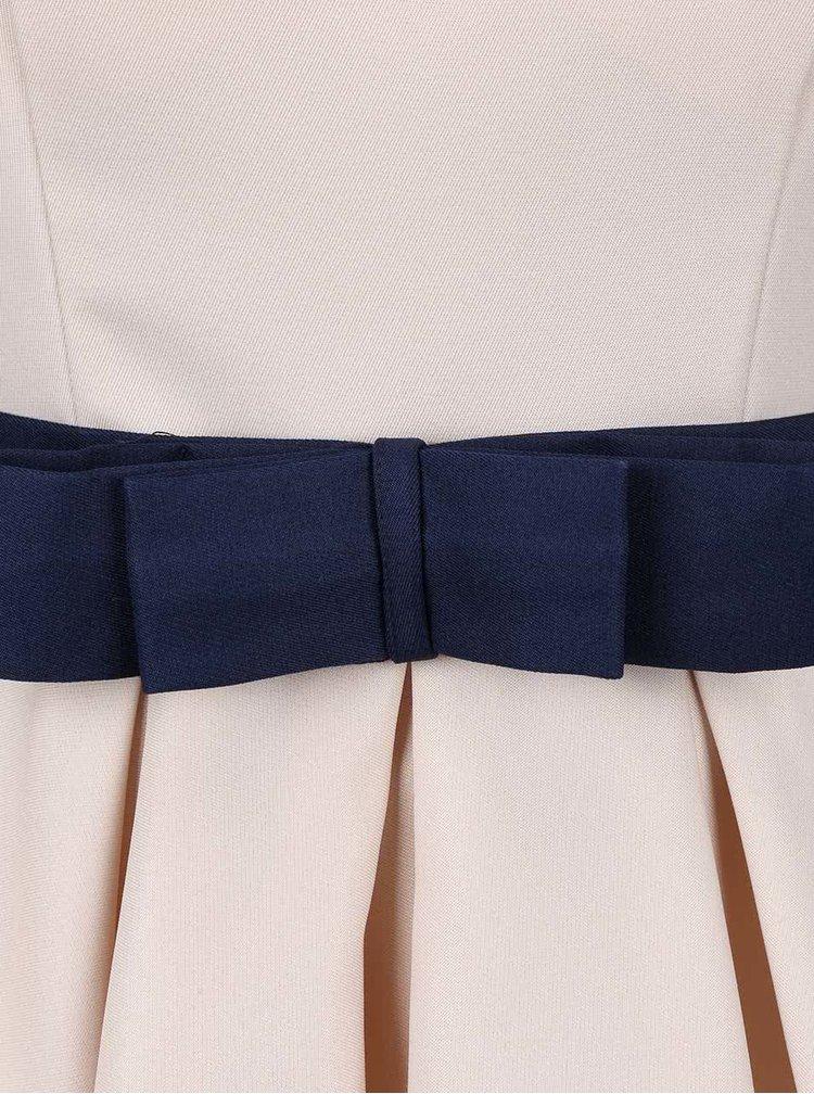 Krémové šaty s tmavomodrou mašľou v páse Chi Chi London Mina