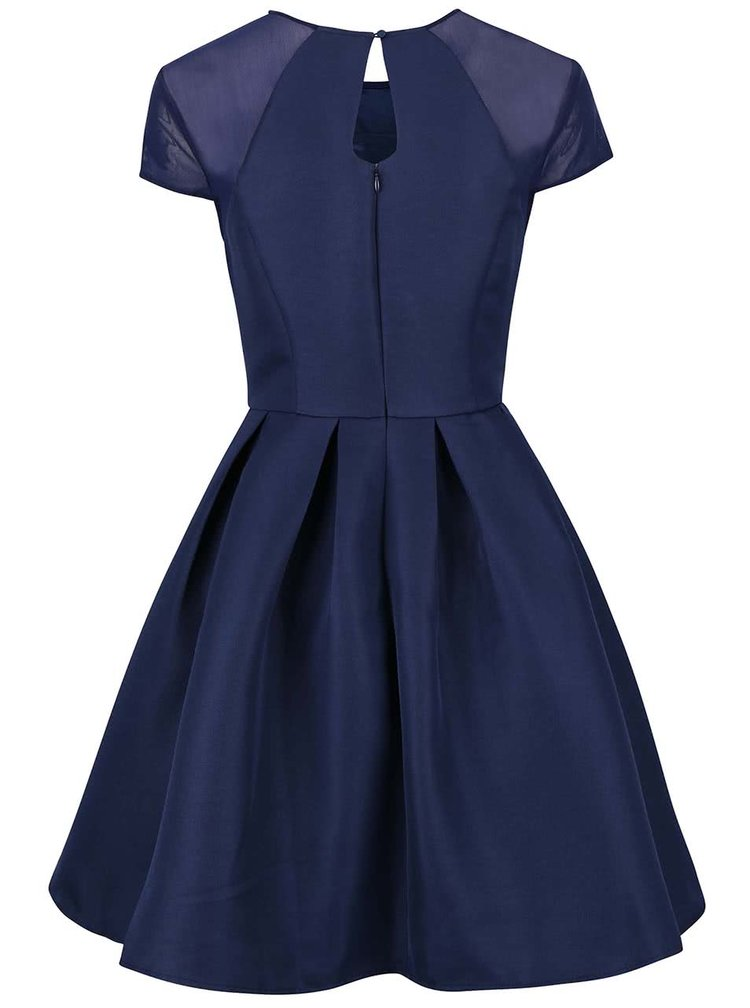 Tmavomodré šaty so skladanou sukňou Chi Chi London Felicia