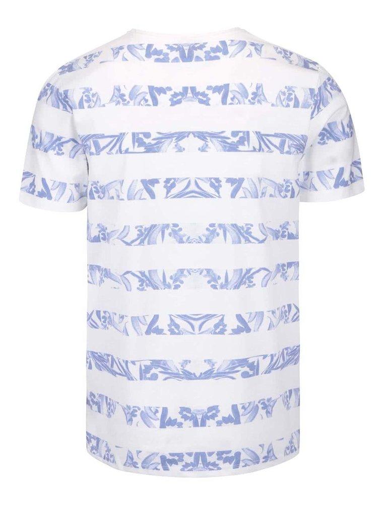 Bílé triko s pruhy Jack & Jones Hole