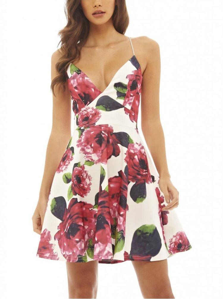 Krémové krátké šaty s motivem květin AX Paris
