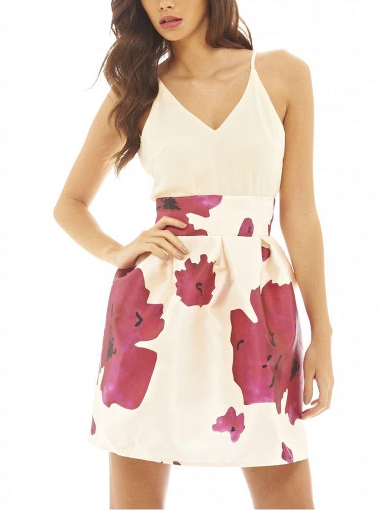 Krémové krátké šaty s květy AX Paris
