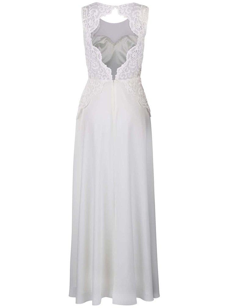 Biele dlhé šaty s čipkovaným topom Chi Chi London Dee