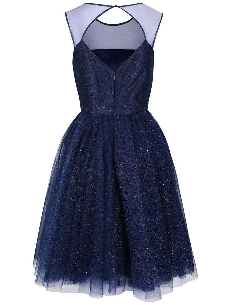 Tmavomodré trblietavé šaty Chi Chi London Jaime