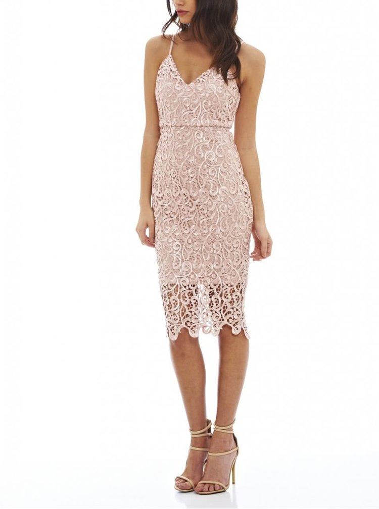 Růžové krajkované šaty AX Paris