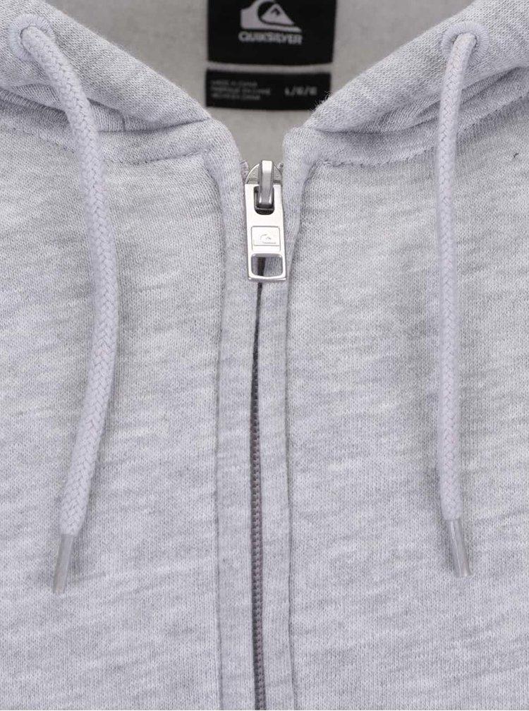Světle šedá mikina na zip s kapucí Quiksilver