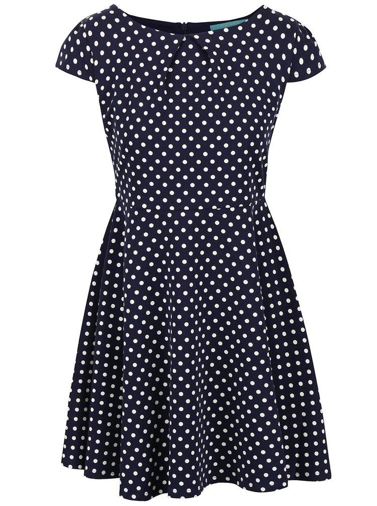 Modré puntíkované šaty s krátkými rukávy Fever London Millie
