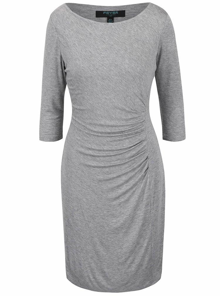 Sivé šaty s 3/4 rukávmi Fever London Portland