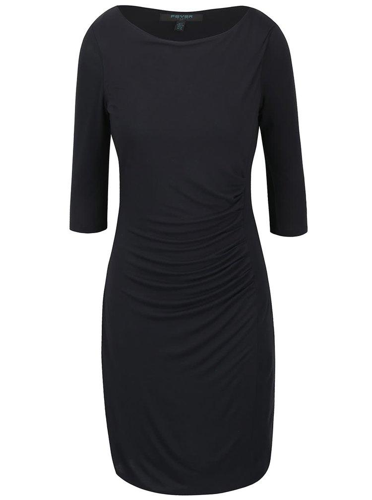 Černé šaty s 3/4 rukávy Fever London Portland