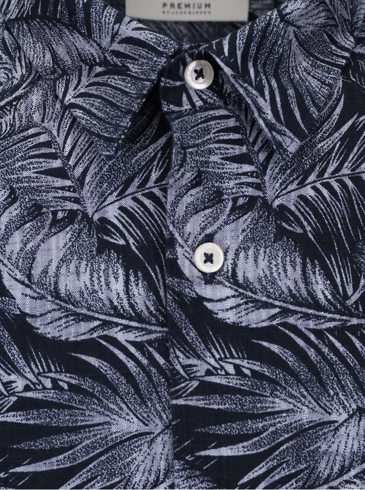 Cămașă Jack & Jones Tucker albastru închis cu imprimeu
