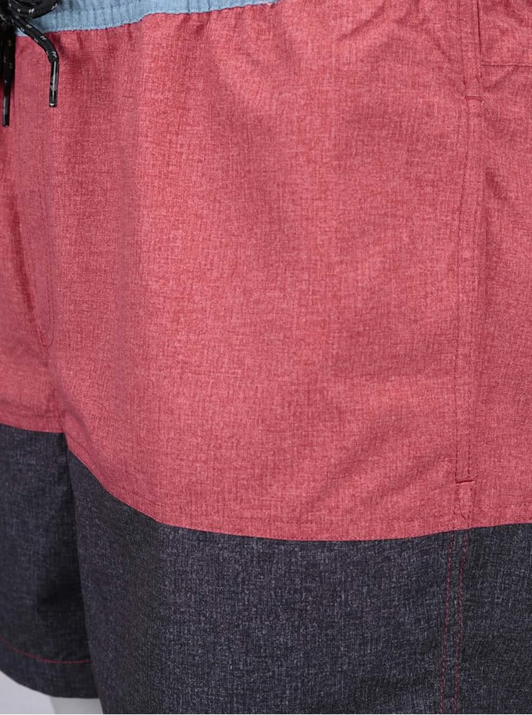 Sivo-červené plavky Quiksilver Panel Volley 15