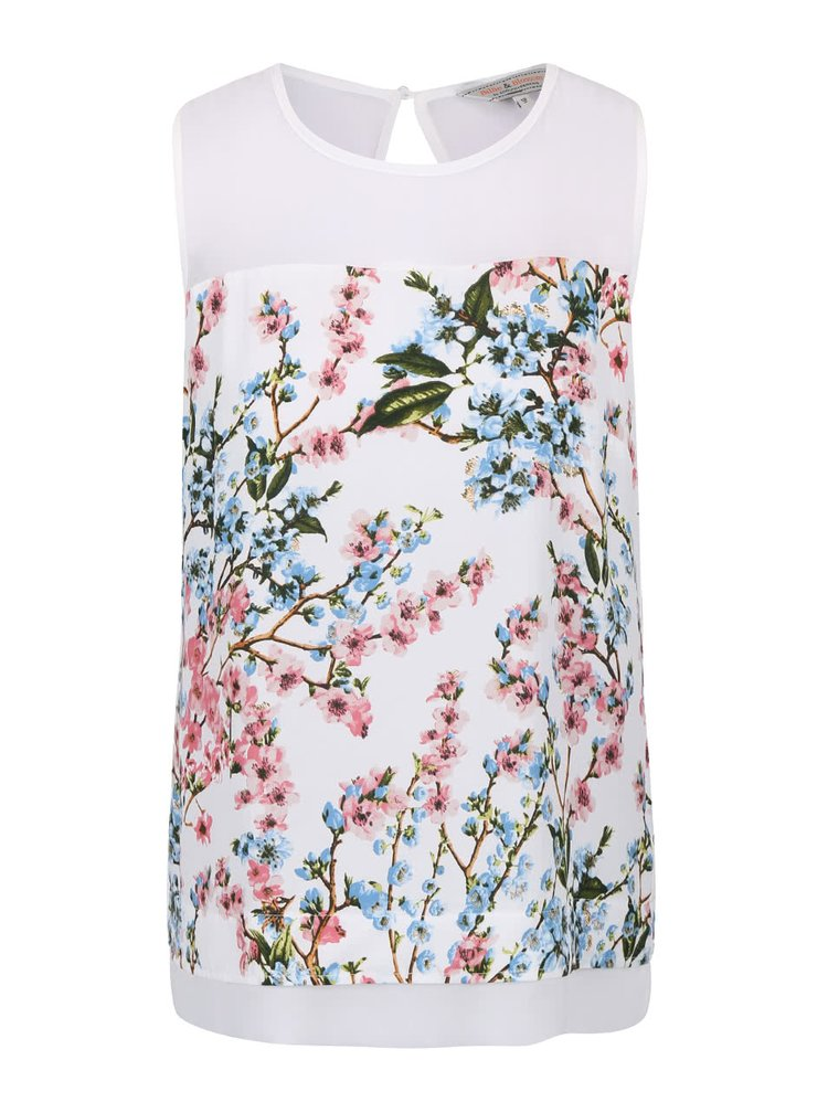 Biela kvetovaná blúzka bez rukávov Dorothy Perkins