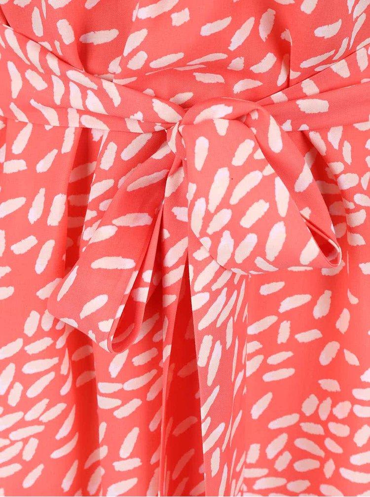 Koralové vzorované šaty s 3/4 rukávmi Apricot