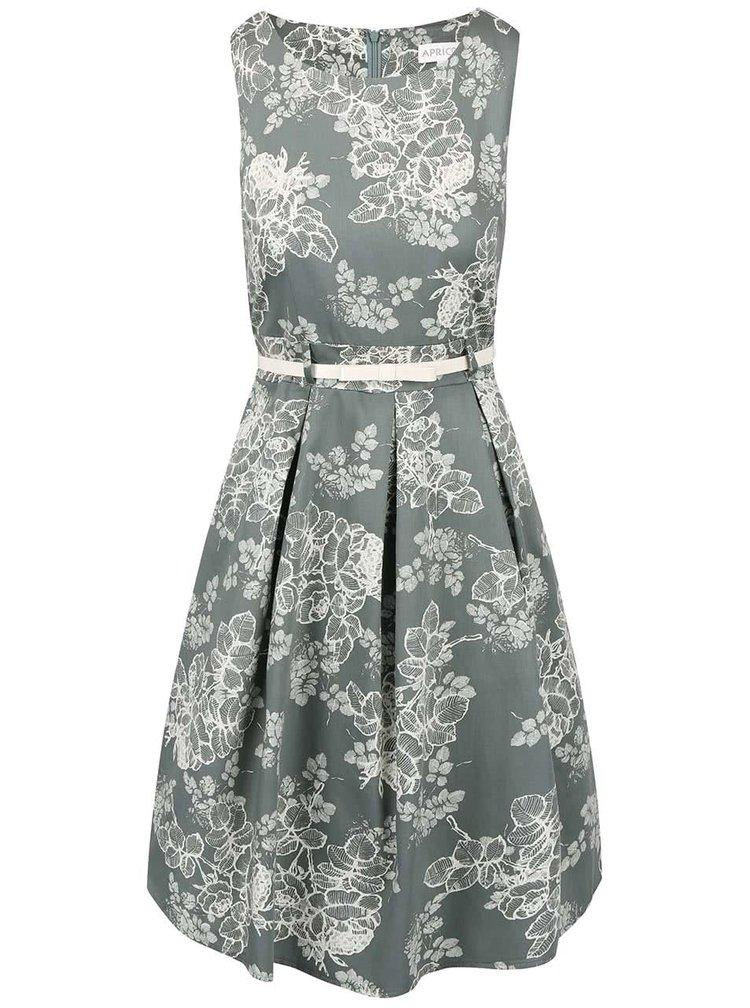 Sivozelené šaty s kvetinovým vzorom Apricot
