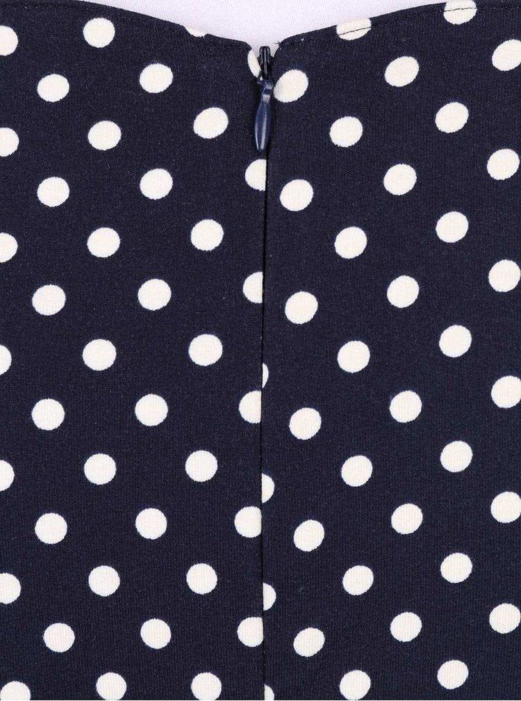 Modré puntíkované šaty s krátkými rukávy Fever London Millie a páskem
