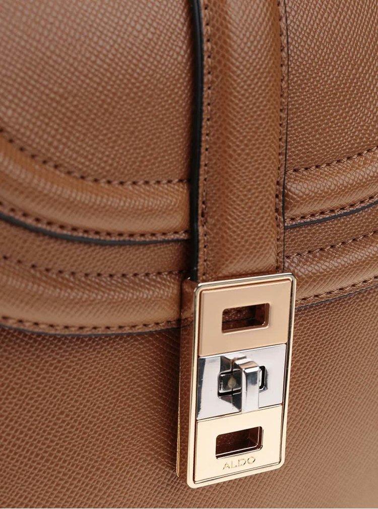 Hnedá crossbody kabelka s detailmi v zlatej farbe ALDO Worley